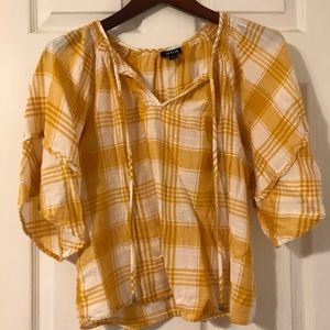 Yellow plaid blouse